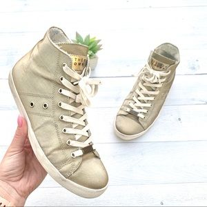 Leather Crown High Top Gold Sneakers 39